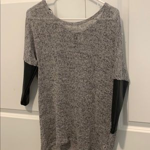 Soft shirt from UO! Black faux leather sleeves
